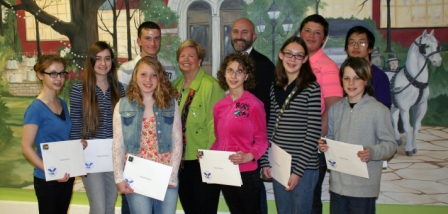 Volunteers honored at the 2014 event included (front row, L-R) Leah Anovitz, Megan McEahern, Amanda Kuipers, Hanah Anovitz, Kyra Hensley, and Jarrett O'Hana; (back row, L-R) Chandler McAmis, Joan Cronan, Jim Dodson, Blaine McAmis, and Lawrence Zhang.