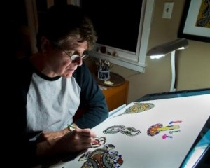 Artist Robert Simon working