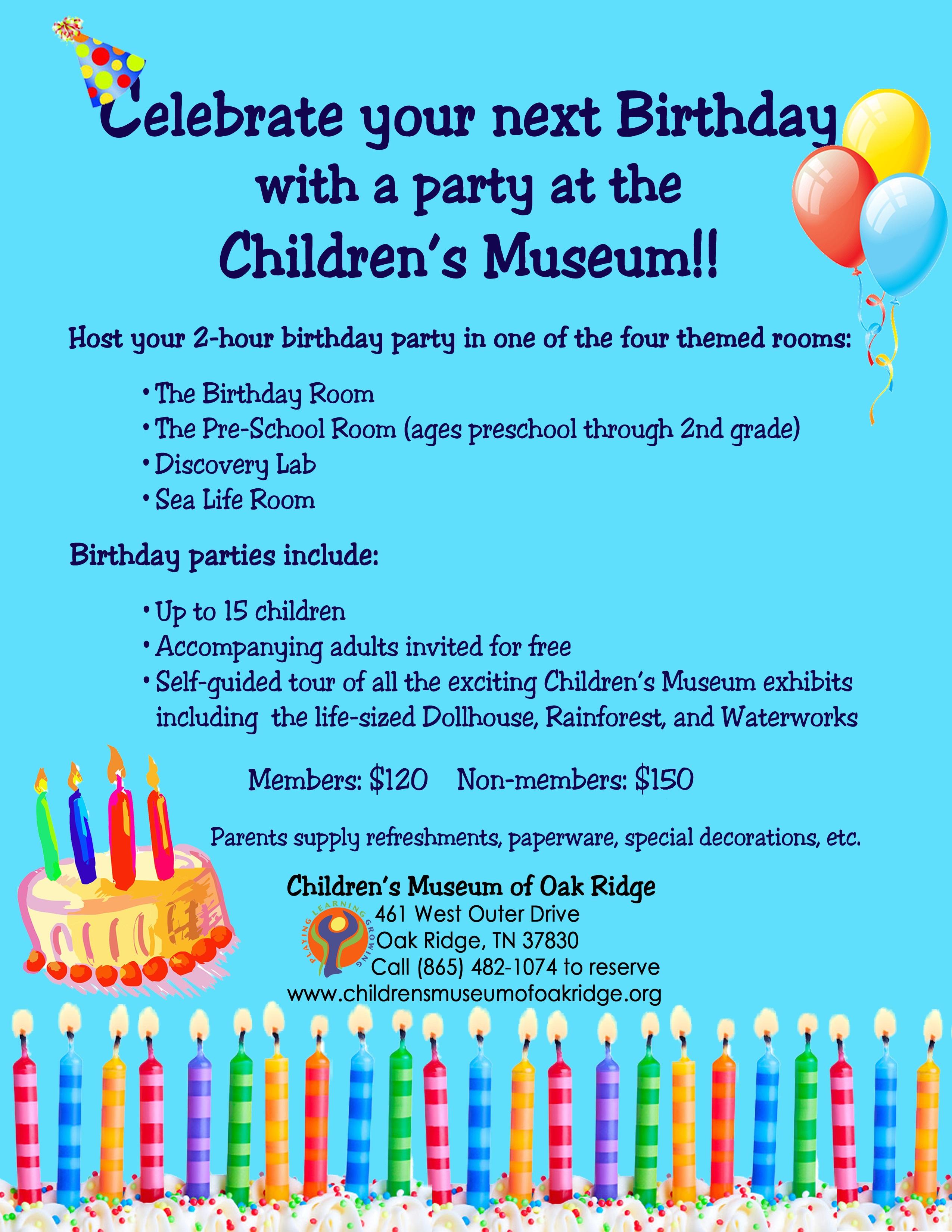 Birthday Parties Childrens Museum Of Oak Ridge